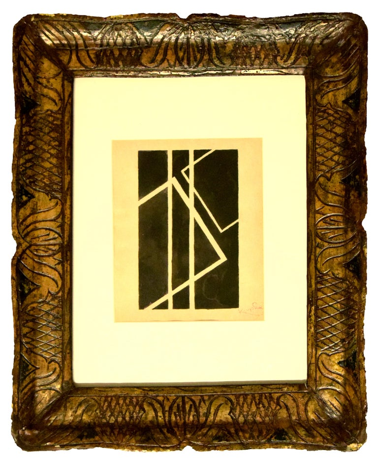 Frantisek Kupka Abstract Drawing - Black Geometrical Composition - China Ink Drawing by F. Kupka