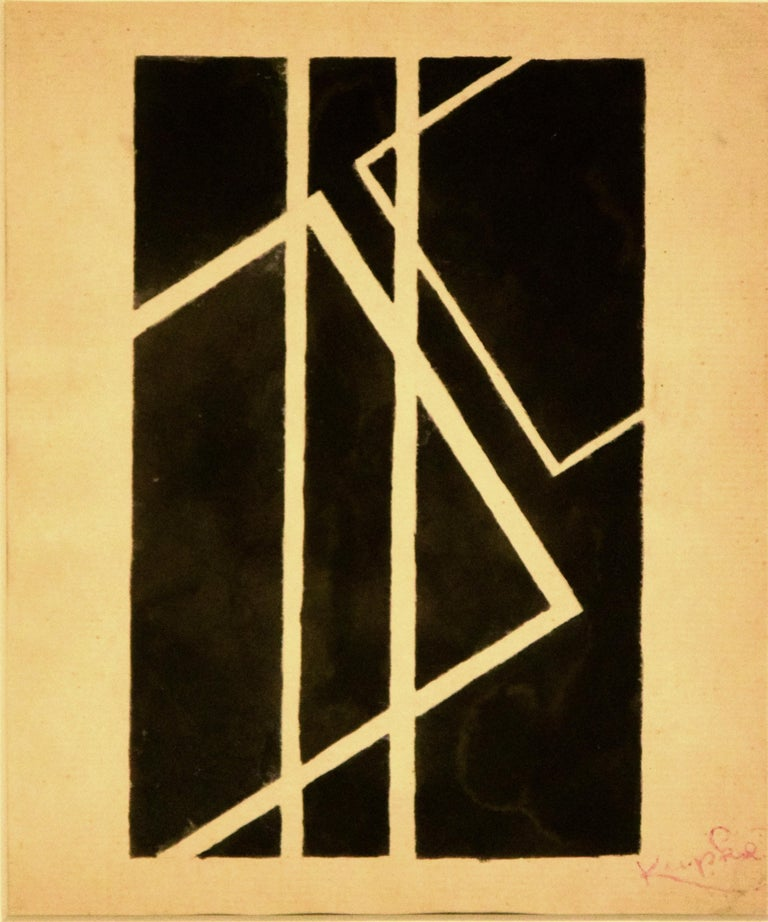 Black Geometrical Composition - China Ink Drawing by F. Kupka  - Art by Frantisek Kupka