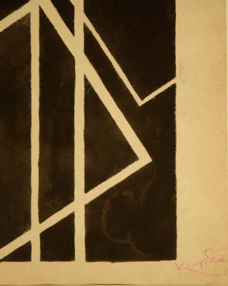 Black Geometrical Composition - China Ink Drawing by F. Kupka  - Abstract Geometric Art by Frantisek Kupka