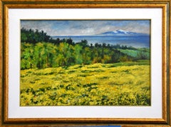 The Aetna viewed from the Sila - Original Oil on Masonite by Luciano Sacco