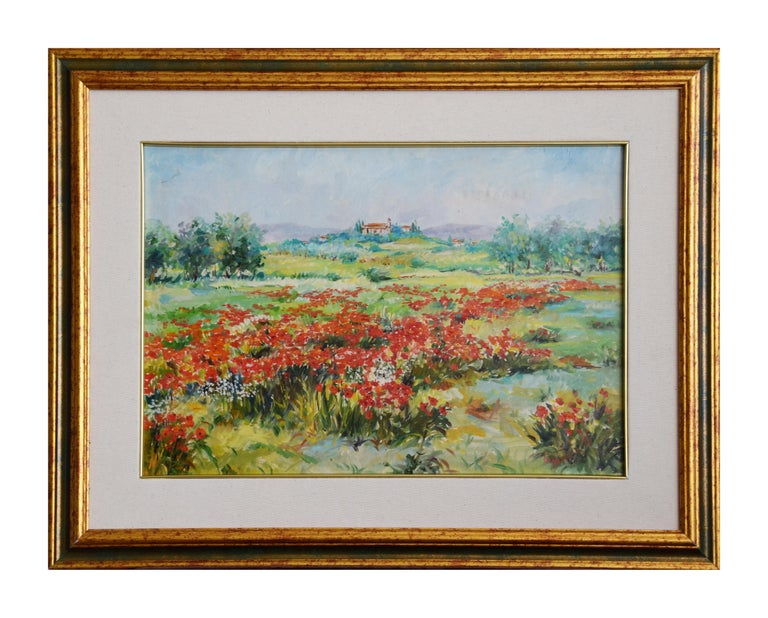 L'Abbazia is a beautiful oil painting on canvas realized by the Italian contemporary artist Luciano Sacco. Including frame (53 x 68 cm). Hand-signed by the artist on the lower right.  Reference: Luciano Sacco, I colori della natura, Casa D'Arte