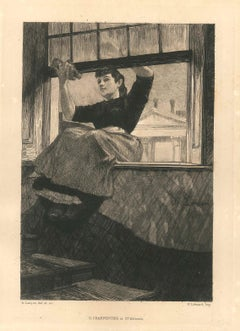 Housekeeper - Original Black and White Etching by Auguste Lançon - Late 1800