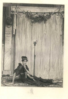 Egyptian - Original Etching on Parchment after Alma-Tadema by E. Romus