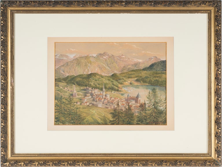 View of Sankt Moritz - Original Watercolor on paper by H. B. Wieland - 1900/1920 - Art by Hans Beat Wieland
