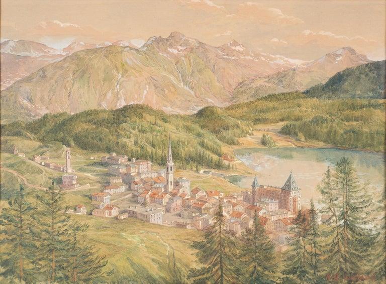 Hans Beat Wieland Figurative Art - View of Sankt Moritz - Original Watercolor on paper by H. B. Wieland - 1900/1920