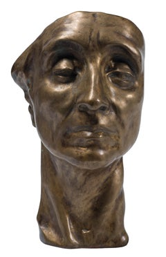 Head of Man - Original Bronze Sculpture by Amedeo Bocchi - 1920s