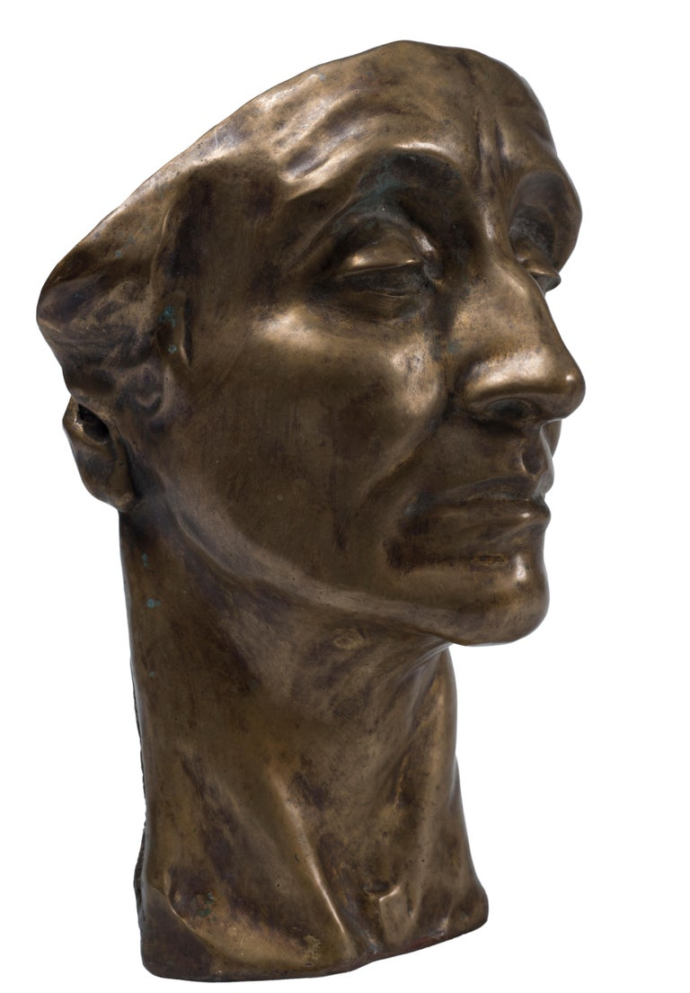 Head of Man - Original Bronze Sculpture by Amedeo Bocchi - 1920s For Sale 1