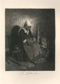 Fileuse et son Enfant - Original Etching by Charles Chaplin - 1850