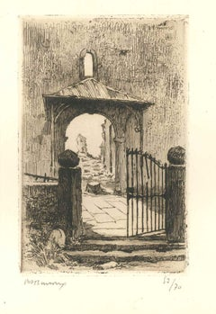 The Gate - Original Etching by Paul Adrien Bouroux - First Half of XX Century