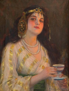 Oriental Portrait of Woman - Original Pastel by Renato Cristiano - 1890 ca.
