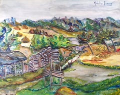 Paysage d'Alsace - Original Tempera and Watercolor on Paper by M. Frouin