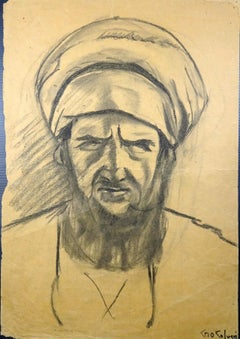 Portrait Of Man - Original Charcoal Drawing by Gio Colucci - 20th Century