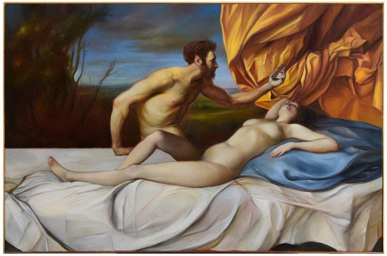 Giovanni Tommasi Ferroni Figurative Painting - Variations on the theme of Antiope - Oil on Canvas by G. Tommasi Ferroni - 2017