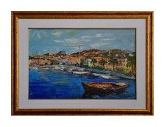 View f Porto S. Stefano (Italy) - Original Oil on Canvas by Luciano Sacco
