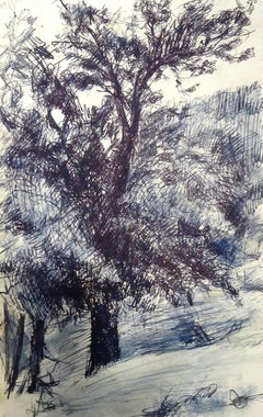 Wood - Original Pastel and China Ink on Paper by J.L. Rey-Vila