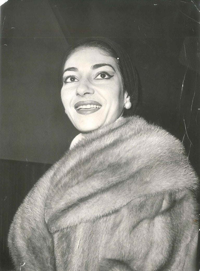 The Divine - Vintage Original Photograph of Maria Callas - End of 1960s - Gray Black and White Photograph by Maria Callas