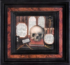 Skull with Sacred Writings and Tablets of the Law - Tempera on Cardboard