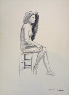 Nude Woman - 1940s - Emile Deschler - Charcoal Drawing - Modern