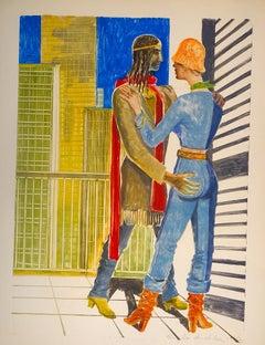 Aphrodite and Anchise - Emile Deschler - 1970s - Watercolour