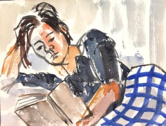 Girl Reading - Original Tempera on Paper by Henry Wormser - Half 1900