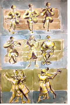 The Dance - Original Tempera and Watercolor on Paper - 1957