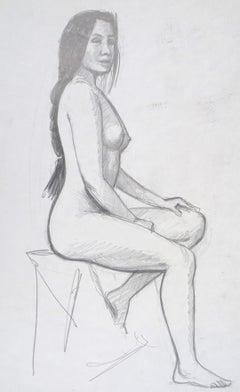 Sitting Nude Model - Original Pencil Drawing on Cardboard by Emile Deschler