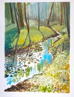 Autumn Landscape - Original Watercolor on Paper by Emile Deschler - 1977