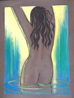Aphrodite Anadyomene - Original Watercolor and Tempera by Emile Deschler - 1976