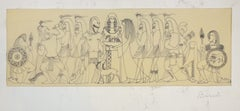 Mythological Scene - Original Ink Drawing on Parchment by Buscot