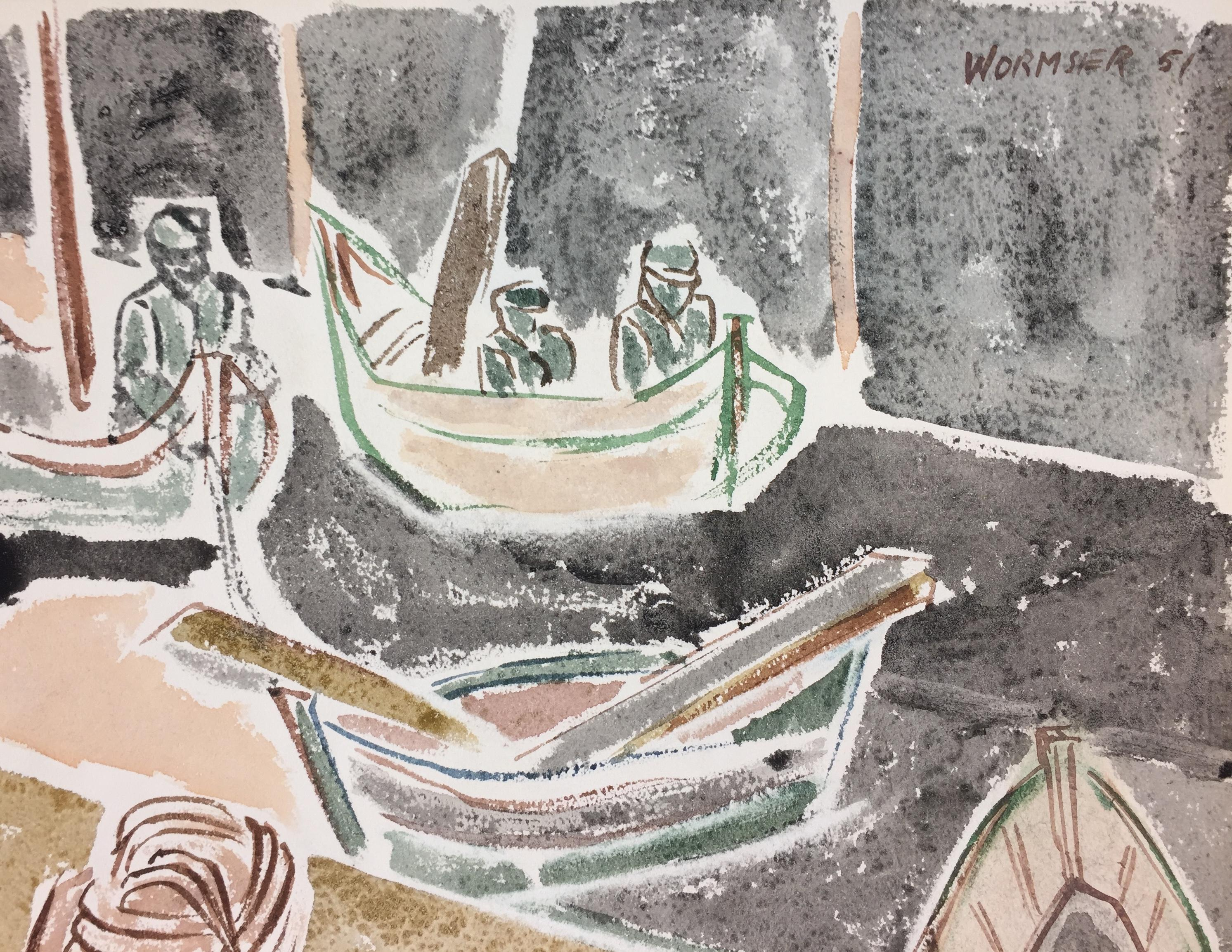 Boats - Original Watercolor on Paper by Henry Wormser - 1951