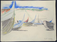 Boats - Original Pastel on Paper by Emile Deschler - 1980s