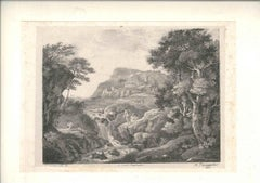 Natural Landscape with Figures - Original Lithograph After Zuccarelli