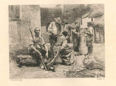 The Reaper's Salary - Original Etching After Léon August Lhermitte - End of 1800