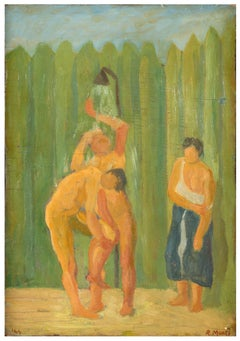 La Doccia (The Shower) - Oil on Wooden Panel by R. Monti - 1944