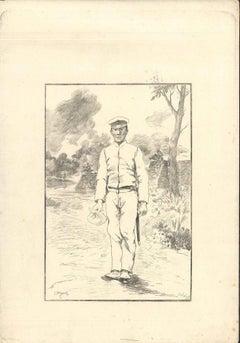 Soldat - Original Etching on Japan Paper by G. F. Bigot - Tokyo 1886