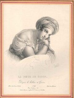 La Soeur de Didon - Original B/w Lithograph realized by A. Legrand