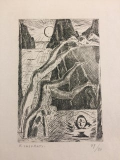 I Tuffatori a Capri - Original Etching by Felice Casorati - 1949