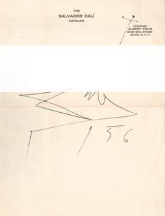 Original Letter by S. Dalì to Albert Field with Creative Dalì Signature - 1956