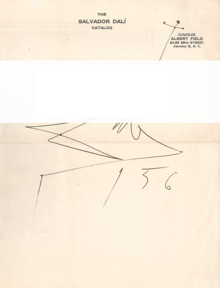 Original Letter by S. Dalì to Albert Field with Creative Dalì Signature - 1956 - Art by Salvador Dalí