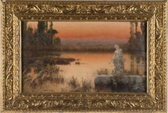 Romantic Landscape at Sunset - Original Oil Painting by E. Serra y Auque