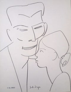 Father and Child - Original Charcoal Drawing by Francesco del Drago