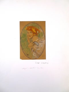 Woman Laughing - Original Pastel by Michel Simonidy - 1920s