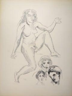 Female Nude - Original Lithograph by Raymond Veysset - Mid 1900