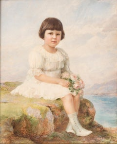 Portrait of Child with Flowers in Hands - Original Miniature Painting by A. Noci