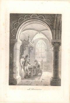 La Devineresse - Original Etching by J-L Vauzelle - End of 18th Century