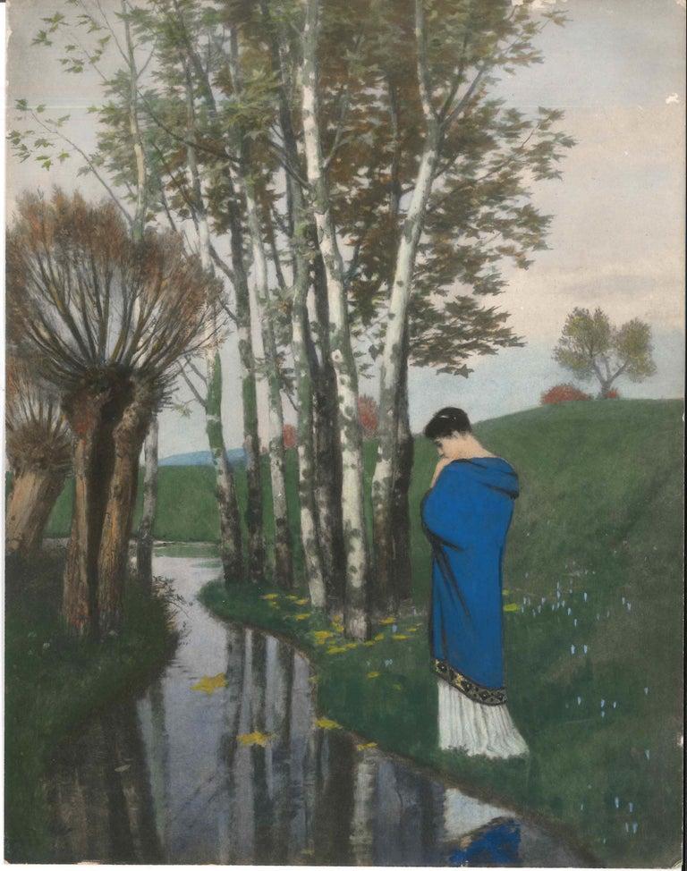 Arnold Boklin Landscape Print - Herbstgedanken - Original Photo-Gravure Hand Watercolored - 1886