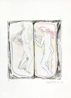 Separate Bodies - Original Lithograph by Anna Trapani - 1989