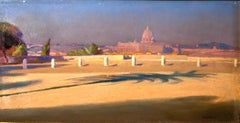 Piazzale del Pincio - Original Oil on Canvas by Amedeo Bocchi - 1920 ca.