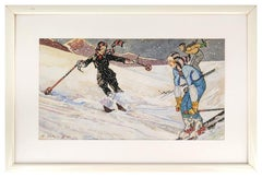 Skiers XII (December) - Original Tempera and Watercolor by Ernesto Dick - 1933
