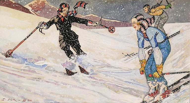 Skiers XII (December) - Original Tempera and Watercolor by Ernesto Dick - 1933 For Sale 1